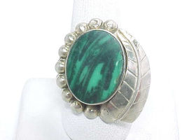 Natural MALACHITE RING set in STERLING Silver - Size 11 - BIG and BOLD -... - $110.00
