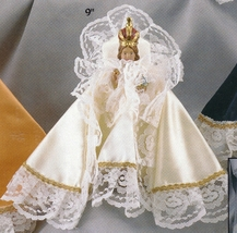Infant Jesus of Prague  9 inch Statue with White Satin Gown - $99.95