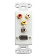 Decora Wall Plate Insert, White, VGA, 3.5mm Stereo, 3 RCA Coupler - 845-... - $10.22