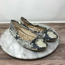 Sam Edelman Felicia Gray/Black Faux Snakeskin Slip On Ballet Flats Womens Size 6 - $34.95