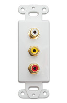 Decora Wall Plate Insert, White, 3 RCA Couplers (Red/White/Yellow), RCA ... - $9.92