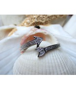 Sterling Silver Diamond Cupids Arrow Ring Size 8 - $20.00