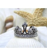 Sterling Silver and CZ Princess Tiara Crown Ring Size 7 - $20.00