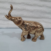 Vintage Standing Brass Elephant With Trunk In the Up Position - $24.95