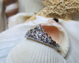 Sterling Silver and CZ  Tiara Crown Ring Size 8 - $20.00