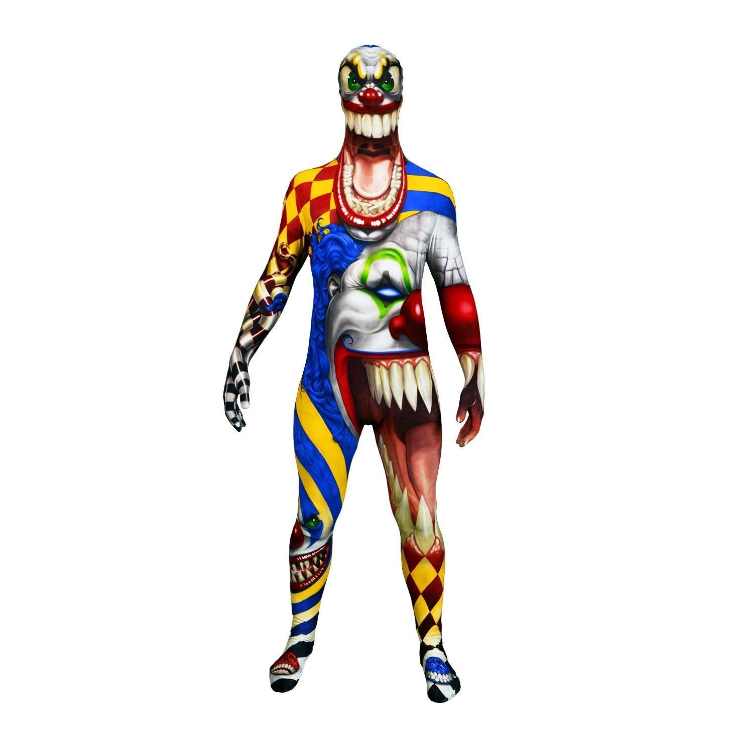 Adult Creepy Clown Halloween Morphsuit Costume Large