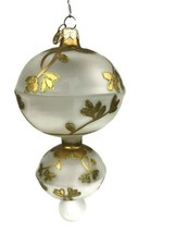 Rare Dept 56 Frosted Glass Gold Floral Glitter Double Finial Poland Ornament - $18.80