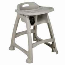 Choice Gray Plastic Stackable High Chair with Tray (Ready to Assemble) - $89.99