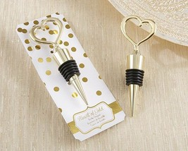 1 Heart of Gold Bottle Stopper Wedding Anniversary Bridal Shower Party F... - $3.78