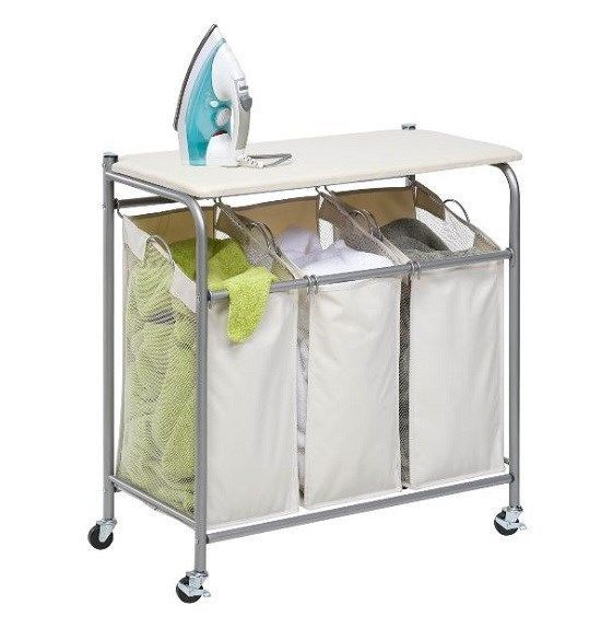 Laundry Sorter Ironing Board 3 Bin Rolling Clothes Hamper Mobile Iron Fold Sort