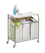 Rolling Laundry Sorter Ironing Board 3 Bin Clot... - $88.49