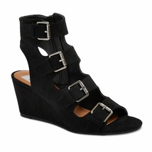 New DV Dolce Vita Black LeeAnn Buckle Wedge Gladiator Open Toe Sandals