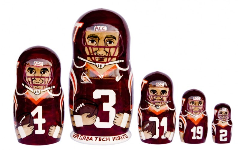 Virginia Tech Hokies matryoshka nesting dolls babushka doll 5pc, 6""