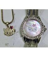 "Hello Kitty Diamonique ""Fashionista Kitty"" Strap Watch & Necklace - $85.00"