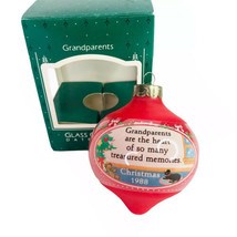 1988 Hallmark Grandparents Glass Christmas Ornament Vintage Round In Box - $4.90
