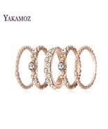 Fashion 5 pcs Engagement Wedding Ring Set Gold Color Cubic Zirconia Rings For Wo - $9.65