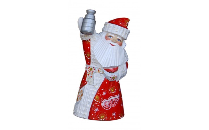 Wooden carved doll Santa Claus Detroit Red Wings, 6 inches