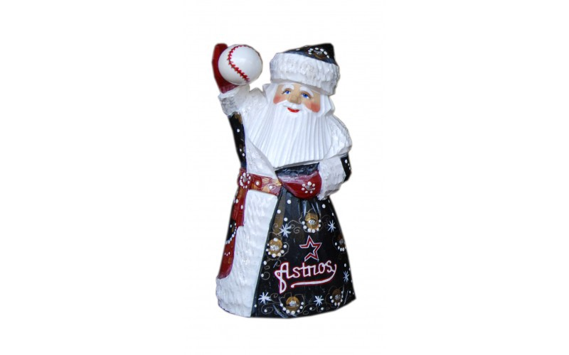 Wooden carved doll Santa Claus Houston Astros, 6 inches