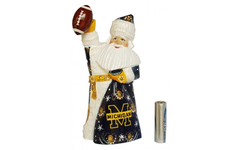 Wooden carved doll Santa Claus Michigan Wolverines, 6 inches