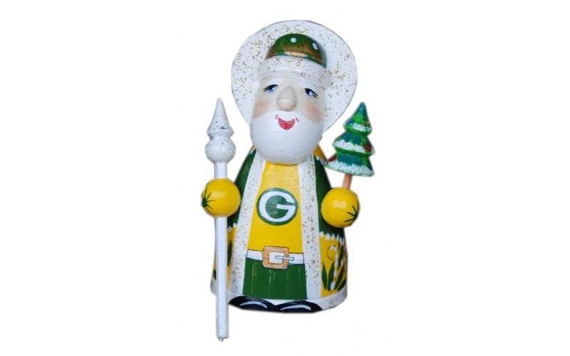 Wooden carved doll little doll Sport Santa Claus Green Bay Packers, 3.2 inches