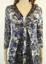 Alfani Navy Olive Black Top Floral Knit With Lace Inset Misses SML - $9.95