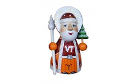 Wooden carved doll little doll Sport Santa Claus Virginia Tech Hokies, 3... - $39.90
