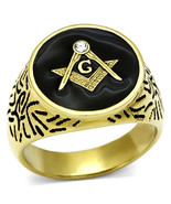 Men's Stainless Steel Ion Gold Clear  Crystal Masonic Ring, Size 8,9,10,... - $25.99