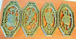 "Vintage Set of 4 Burwood Large 14"" Wall Hanging Decor Viking Hat Shield ... - $39.60"
