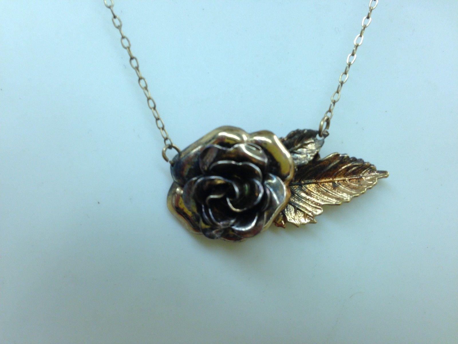 Vintage Vermeil Sterling Silver Flower Pendant on Chain