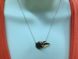 Vintage Danecraft Sterling Silver Vermeil Rose Flower Pendant Necklace - $25.73