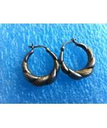 VINTAGE STERLING SILVER TWISTED HOOP EARRINGS - $20.78