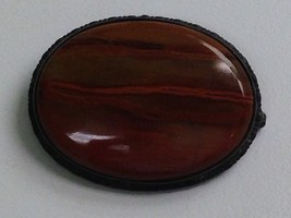 VINTAGE ANTIQUE VICTORIAN STERLING SILVER RED AGATE PIN - $42.86