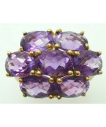 10k Yellow Gold Ring with Seven Carats of Genuine Natural Amethysts (#J3... - $450.00