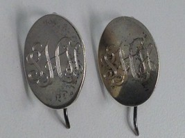 VINTAGE STERLING SILVER MEXICO MONOGRAMMED EARRINGS 925 - $20.78
