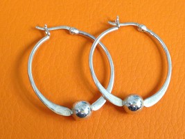 VINTAGE HOOP BALL BEADS STERLING SILVER EARRINGS 925 - $20.78