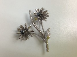 STERLING SILVER HEMATITE FLOWER PIN BROOCH SIGNED R INC VINTAGE - $25.73