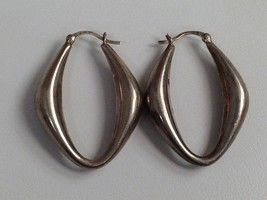 VINTAGE STERLING SILVER UNUSUAL HOOP EARRINGS CNA 925 - $25.73