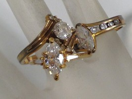 3 VINTAGE CZ RINGS LOT s 7.5 , 8 , 9.5 signed DAC 925 AVON A - $25.73
