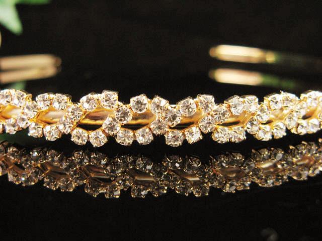 GLAMOUR DELICATE HEADBAND WEDDING CRYSTAL TIARA RHINESTONE BRIDAL COMB 1724g