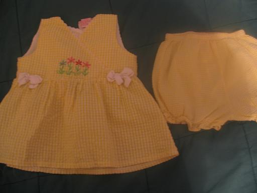Yellow and white dress with diaper cover size 18 months