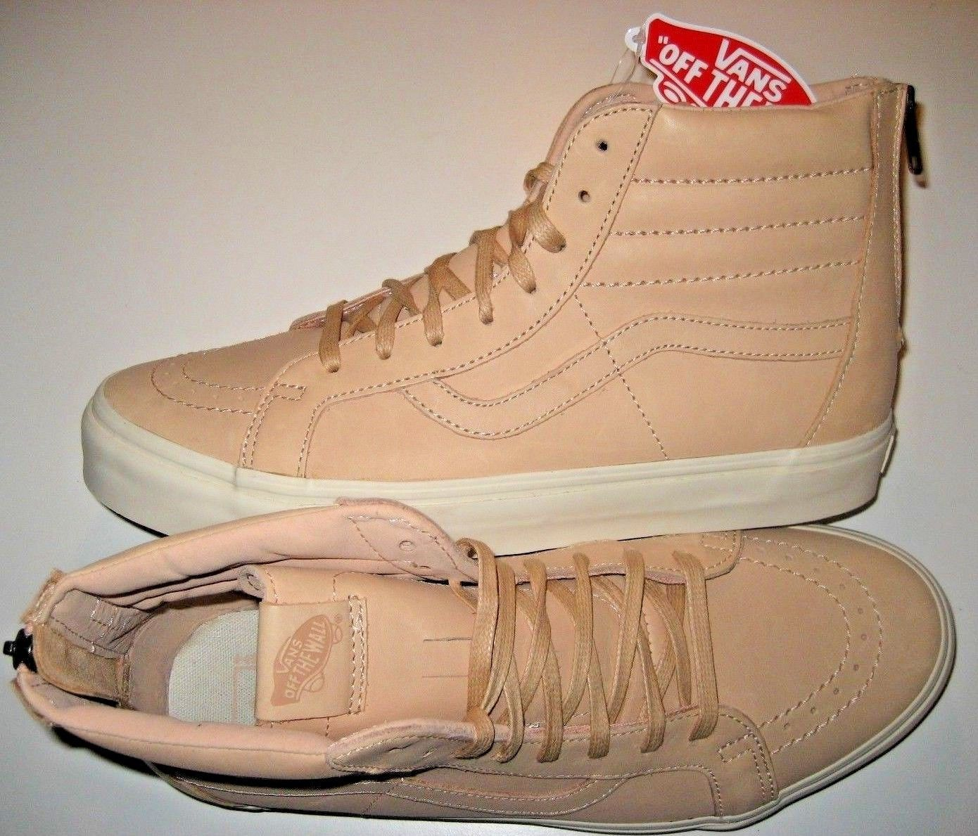 Vans Sk8-Hi Reissue Zipper Mens Veggie Tan Leather Skate shoes Size 11.5 NWT