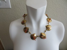 Vntg. 50's Sea Shell Gold tone Links w/Natural Coral branch/Faux Pearls ... - $29.99