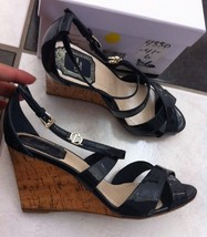 Nib 100% Auth Christian Dior Navy Patent Leather Wedge Sandals Shoes $640 - $449.00