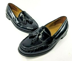 COLE HAAN Black Leather Tassel Pinch Loafer Mens 10 D Moc Toe Dress Shoes - $37.11