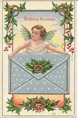 Primary image for Birthday Greetings Vintage 1911 Cherub Post Card