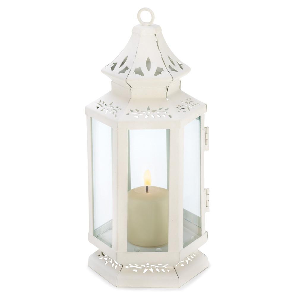 Victorian Candle Pair small  Cutout Design Lanterns White
