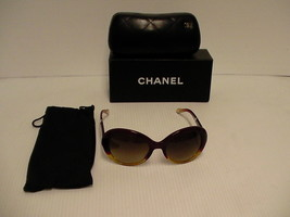 Chanel Womens Sunglasses New Orange Red Yellow Brown Round 5156 Two Tone - $217.75