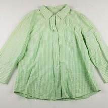 Talbots Button Down Shirt Women Sz L Large Green Striped Cotton Blend 3/... - $13.21