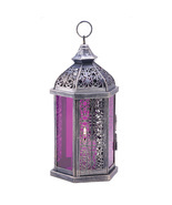 Lantern Royal purple antique pewter finish stained glass panels glow ame... - $11.99