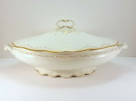 """WH Grindley 520 Oval Covered Vegetable Bowl 12"""" White Gold Antique Dish - $41.52"""